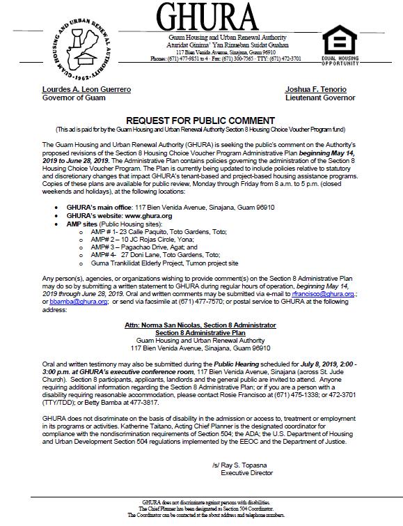 REQUEST FOR PUBLIC COMMENT - Section 8 Housing Choice