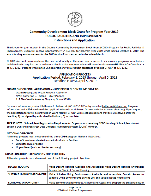Community Development Block Grant (CDBG) Application Form – Public Facilities and Improvement