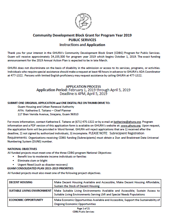 Community Development Block Grant (CDBG) Application Form – Public Services