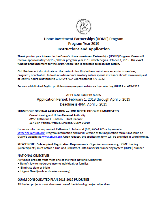 Home Investment Partnerships Grant (HOME) Application Form