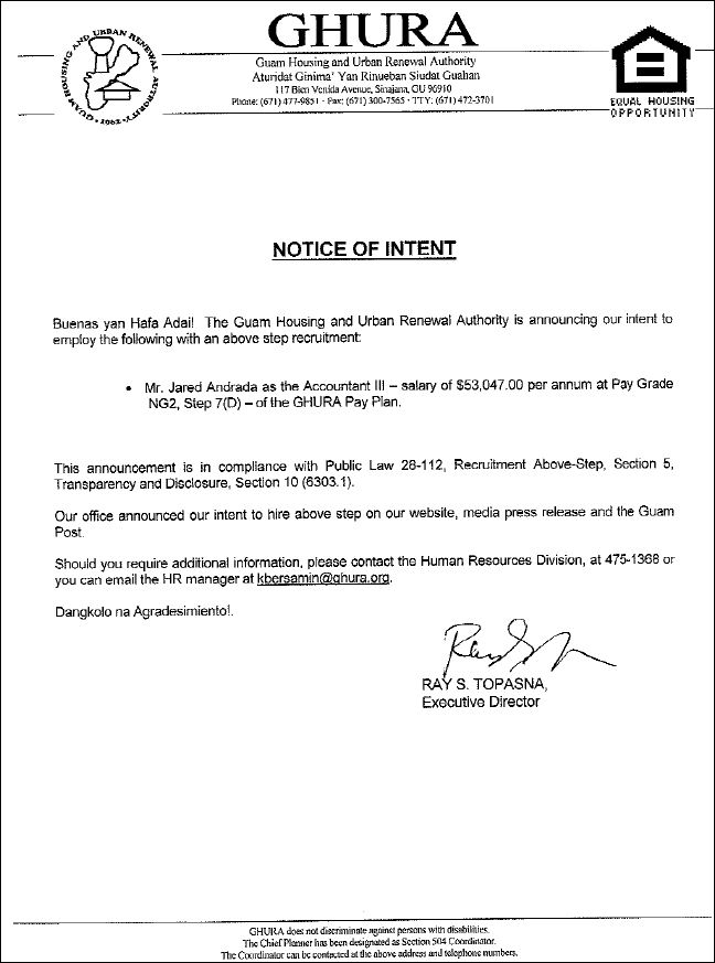 Notice of Intent - Above-Step Recruitment - Accountant III